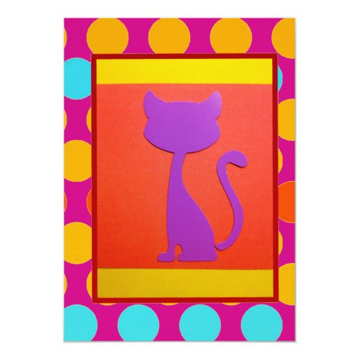 Colorful Kitty Cat Polka Dot Pattern 5x7 Paper Invitation Card