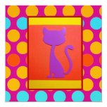 Colorful Kitty Cat Polka Dot Pattern 5.25x5.25 Square Paper Invitation Card