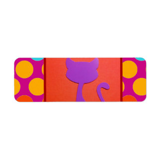 Colorful Kitty Cat Polka Dot Pattern Label