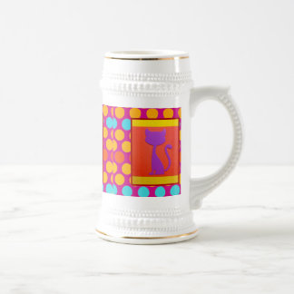 Colorful Kitty Cat Polka Dot Pattern 18 Oz Beer Stein