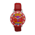 Colorful Kitty Cat Polka Dot Pattern Watches