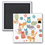 Colorful Kitty Cats Print Gifts for Cat Lovers 2 Inch Square Magnet