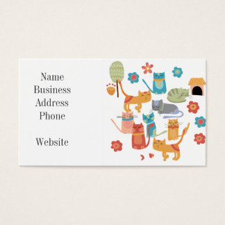 Colorful Kitty Cats Print Gifts for Cat Lovers Business Card