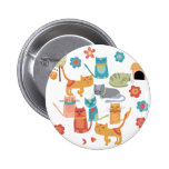 Colorful Kitty Cats Print Gifts for Cat Lovers Pinback Button