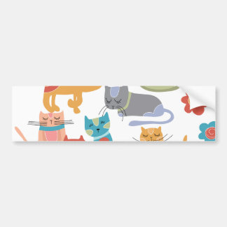 Colorful Kitty Cats Print Gifts for Cat Lovers Car Bumper Sticker