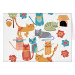 Colorful Kitty Cats Print Gifts for Cat Lovers Stationery Note Card