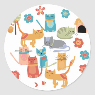 Colorful Kitty Cats Print Gifts for Cat Lovers Classic Round Sticker