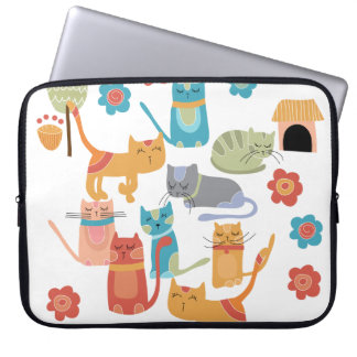 Colorful Kitty Cats Print Gifts for Cat Lovers Computer Sleeve