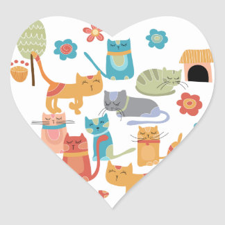 Colorful Kitty Cats Print Gifts for Cat Lovers Heart Sticker