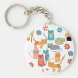 Colorful Kitty Cats Print Gifts for Cat Lovers Key Chain