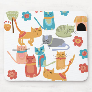 Colorful Kitty Cats Print Gifts for Cat Lovers Mouse Pad