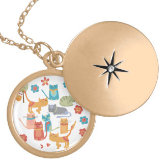 Colorful Kitty Cats Print Gifts for Cat Lovers Round Locket Necklace
