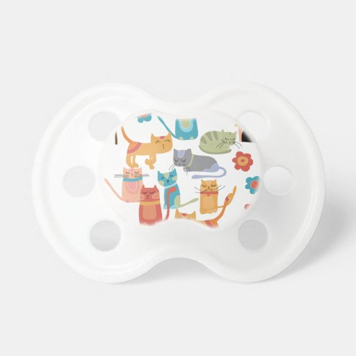 Colorful Kitty Cats Print Gifts for Cat Lovers Baby Pacifiers
