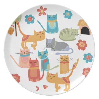 Colorful Kitty Cats Print Gifts for Cat Lovers Party Plate