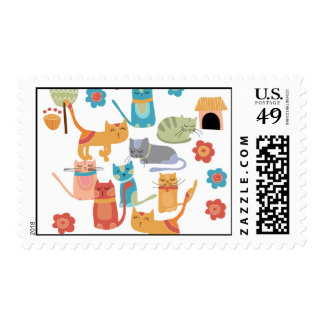 Colorful Kitty Cats Print Gifts for Cat Lovers Postage