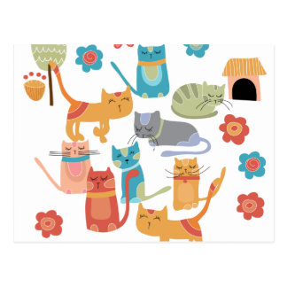Colorful Kitty Cats Print Gifts for Cat Lovers Postcard