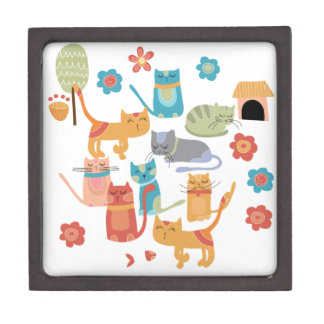 Colorful Kitty Cats Print Gifts for Cat Lovers Premium Gift Boxes