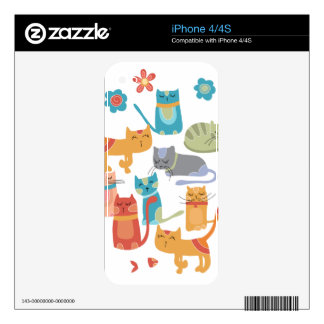 Colorful Kitty Cats Print Gifts for Cat Lovers iPhone 4 Skin