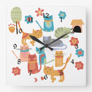 Colorful Kitty Cats Print Gifts for Cat Lovers Square Wall Clock