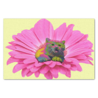 """Colorful Kitty on Pink Daisy Flower 10"""" X 15"""" Tissue Paper"""