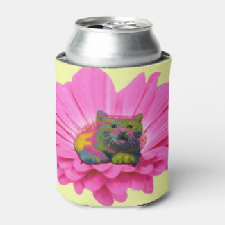 Colorful Kitty on Pink Daisy Flower Can Cooler