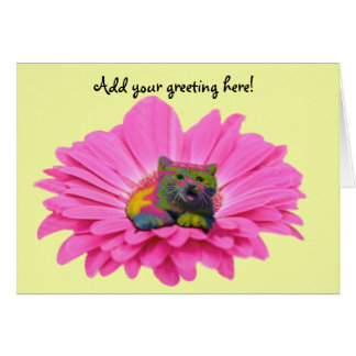 Colorful Kitty on Pink Daisy Flower Card