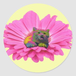 Colorful Kitty on Pink Daisy Flower Classic Round Sticker