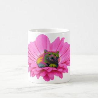 Colorful Kitty on Pink Daisy Flower Coffee Mug