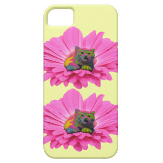 Colorful Kitty on Pink Daisy Flower iPhone SE/5/5s Case