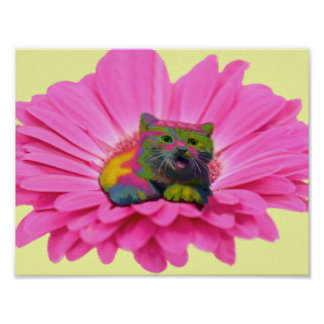Colorful Kitty on Pink Daisy Flower Poster