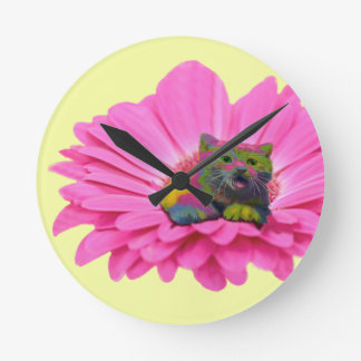 Colorful Kitty on Pink Daisy Flower Round Clock