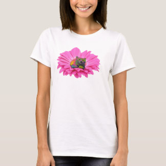 Colorful Kitty on Pink Daisy Flower T-Shirt