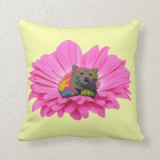 Colorful Kitty on Pink Daisy Flower Throw Pillow