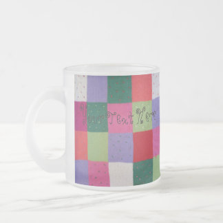 colorful knitted patchwork squares fun design frosted glass coffee mug