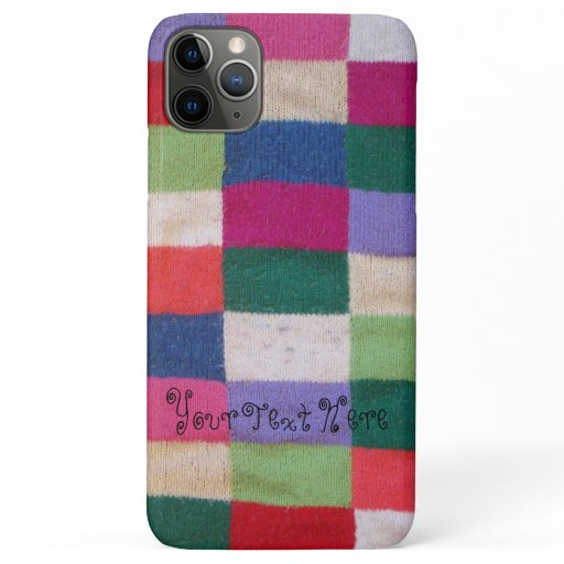 colorful knitted patchwork squares fun vintage iPhone 11 pro max case