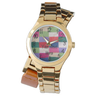 colorful knitted patchwork squares vintage design wrist watch