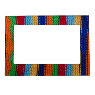 Colorful knitted stripes magnetic picture frame