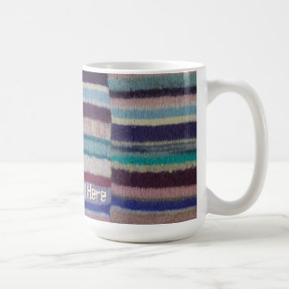 colorful knitted stripes unique vintage fun design coffee mug