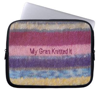 colorful knitted stripes vintage fun slogan design laptop sleeve