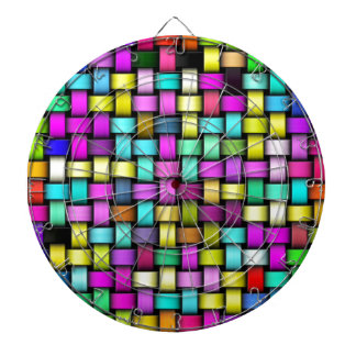 Colorful knitted texture dartboard with darts