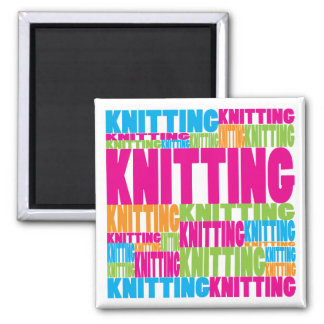 Colorful Knitting 2 Inch Square Magnet