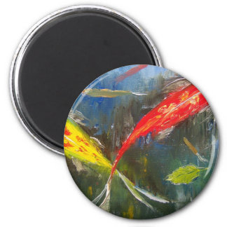 Colorful Koi Fish 2 Inch Round Magnet