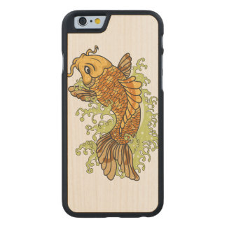 Colorful Koi Fish Carved Maple iPhone 6 Case