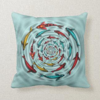 Colorful Koi Fish Circle Mojo Throw Pillow