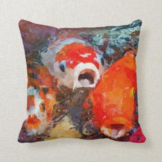Colorful Koi Fish Throw Pillow
