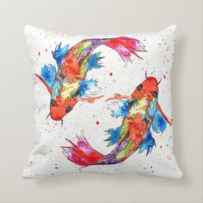 Colorful Koi Fish Throw Pillow Zazzle Com