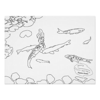Colorful Koi Lilies Large Archival Coloring Poster