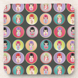 Colorful Kokeshi Dolls Coaster