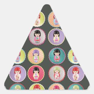 Colorful Kokeshi Dolls Triangle Sticker