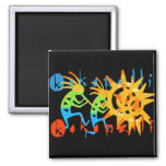 Colorful Kokopelli 2 Inch Square Magnet